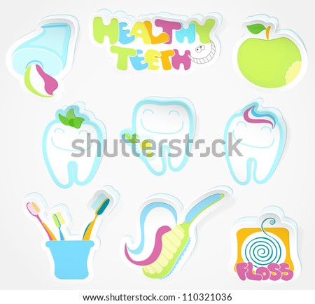 Dental icon (sticker) set (dentist tools) - stock vector