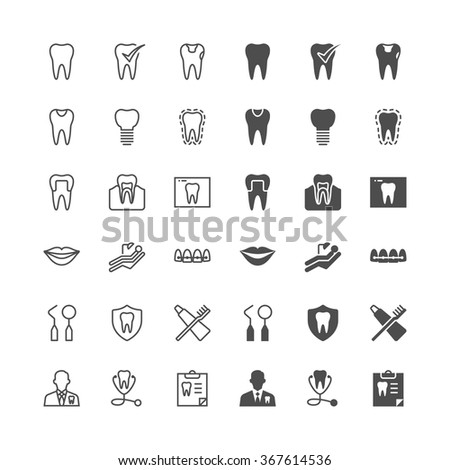 Dental icons, included normal and enable state. - stock vector