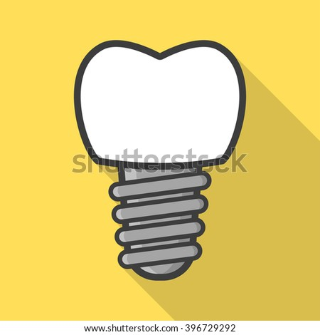 Dental implant in flat style. Tooth implant. Vector illustration - stock vector