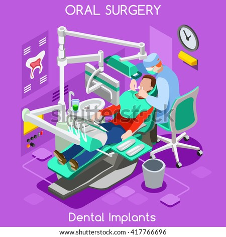 Dental implant teeth hygiene and whitening oral surgery center dentist and patient. Flat 3D isometric people dentistry clinic room dental cosmetic implant vector illustration. - stock vector