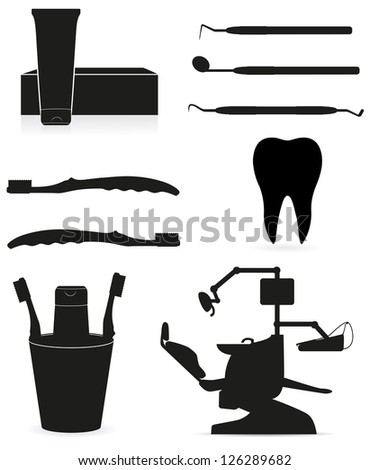 dental instruments black silhouette vector illustration isolated on white background - stock vector
