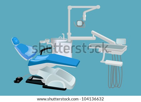 dental machine unit isolated on blue color - stock vector