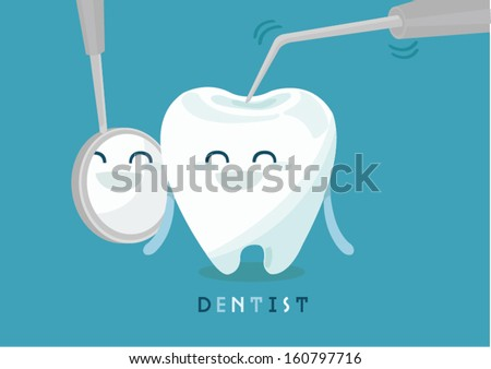 Dental mirror and probe on white for tooth - stock vector