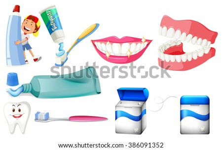 Dental set with boy and clean teeth illustration - stock vector