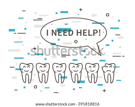 Dental tooth caries linear vector illustration. Dental tooth care technology creative concept. Healthy tooth hygiene symbol. Tooth caries (broken tooth) graphic design. - stock vector