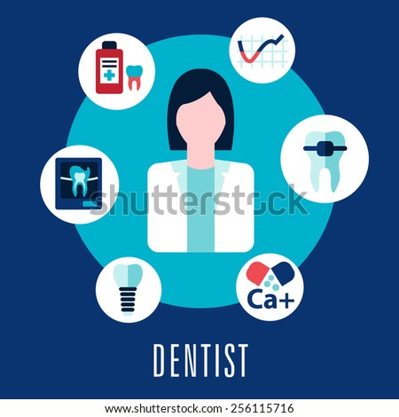 Dentist and dentistry concept with dentist surrounded by icons depicting caries, calcium, antibiotics, decay, repair, implant, and x-ray with the text  below - stock vector