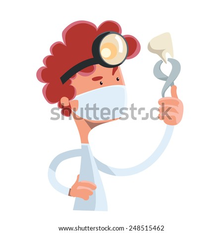 Dentist holding tooth vector illustration cartoon character - stock vector