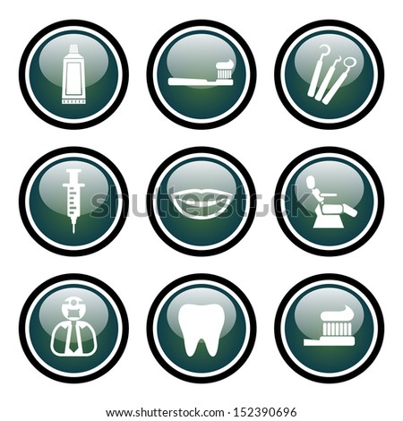 Dentist Icon Set with Vector Glass Button Icons - stock vector
