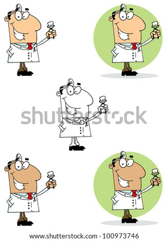 Dentist Man Holding An Extracted Tooth. Vector Collection - stock vector