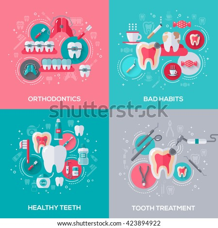 Dentistry Banners Set With Flat Icons. Vector illustration. Dental Concepts. Healthy Clean Teeth. Tooth Treatment. Orthodontics. Bad Habits - stock vector