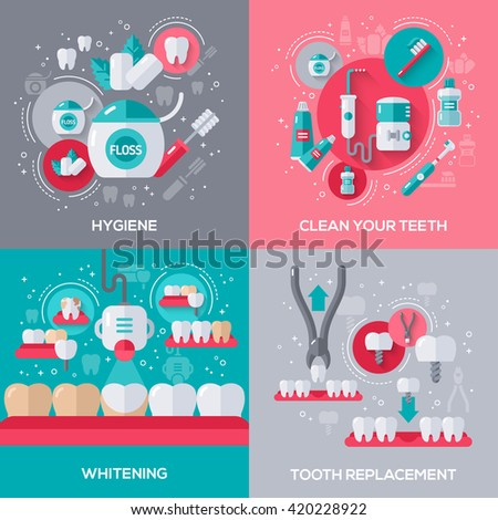 Dentistry Banners Set With Flat Icons. Vector illustration. Hygiene, Cleaning Teeth, Tooth Whitening, Dental Implants and Extraction. - stock vector