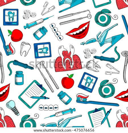 Dentistry seamless pattern background with vector icons of dentist and stomatologist equipment and medications