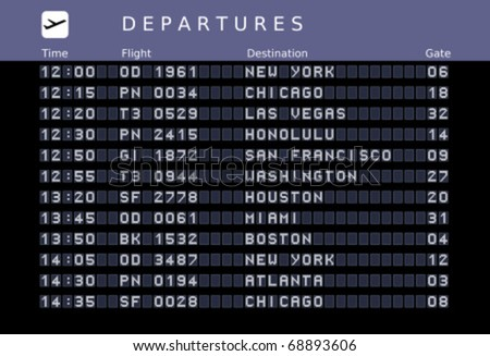 Departure board - destination airports. Vector illustration - font embedded outside the viewing area. USA destinations: New York, Chicago, Las Vegas, Honolulu, San Francisco, Washington, Houston.