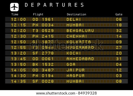 Departure board - destination airports. Vector illustration - font for easy editing your own messages is outside the viewing area. India destinations: Delhi, Mumbai, Bengaluru and other cities. - stock vector