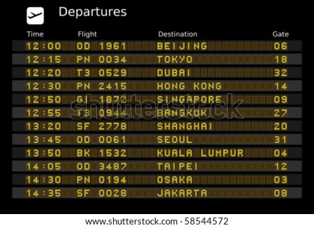 Departure board vector, ABC and 123 for easy editing your own messages are outside the view. Asia destinations: Beijing, Tokyo, Dubain, Hong Kong, Singapore, Bangkok, Shanghai, Taipei and Jakarta - stock vector