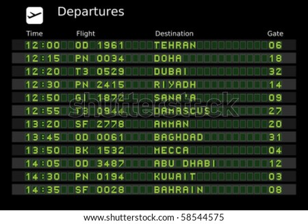 Departure board vector, ABC and 123 for easy editing your own messages are outside the view. Middle East destinations: Tehran, Doha, Dubai, Riyadh, Damascus, Amman, Baghdad, Mecca, Kuwait and Bahrain - stock vector