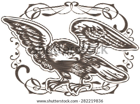 Depiction of eagle with effect of engraving - stock vector