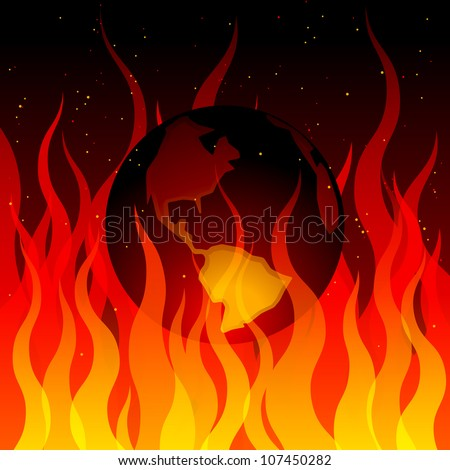 Depiction of the earth burning in a fire - stock vector