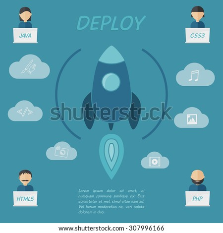 Deployment stage of web development process, workflow. Spaceship, rocket with user icons in flat modern style. - stock vector