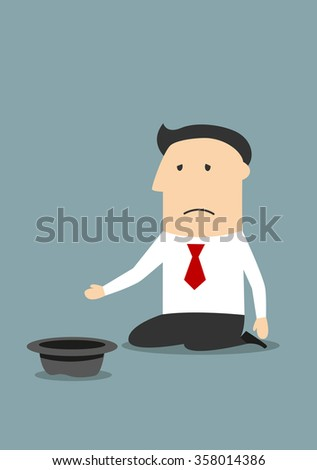 Depressed bankrupt businessman begging for money, job or help. Business concept of bankruptcy, financial crisis, jobless and poverty - stock vector