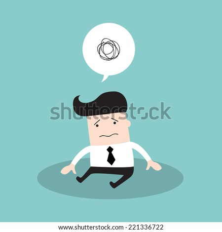 Depressed tired businessman. Sad and stressed out hard worker. Business concept. Vector illustration  - stock vector