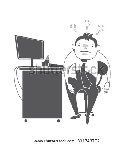 Depressed worker at his workplace. Vector Illustration