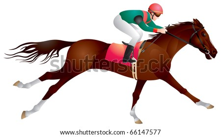Derby, Equestrian sport horse and rider in vector, racing,  Jockey, competition, horseman, Hippodrome, Thoroughbred horse,  gambling, The Sport of Kings - stock vector