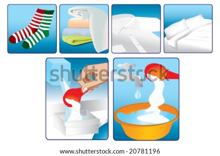 description vector icons for laundry softener and detergent usage - stock vector