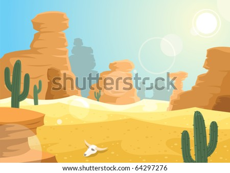Desert: A desert landscape. No transparency used. - stock vector