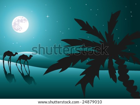 Desert at night with camels