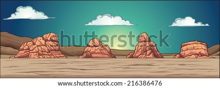 Desert background. Vector clip art illustration with simple gradients. Static background, mountains, clouds and foreground on separate layers. Foreground can be used as a seamless pattern. - stock vector