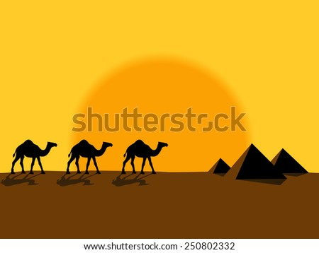 Desert evening landscape with the camels and pyramids - stock vector