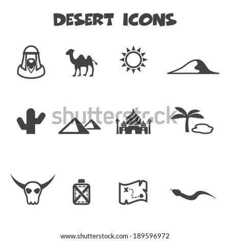desert icons, mono vector symbols - stock vector