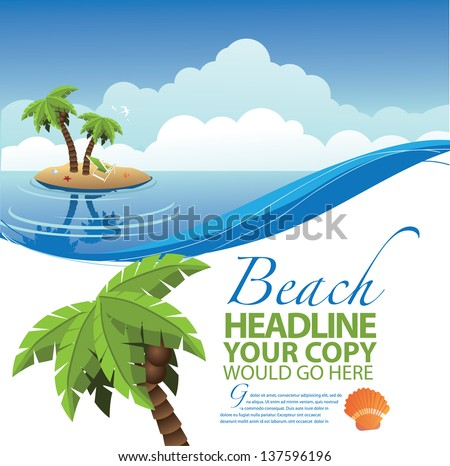 Desert Island Ad Poster Marketing Design Layout Template. EPS 10 vector, grouped for easy editing. No open shapes or paths. - stock vector