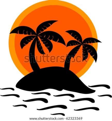 Desert island and sunset vector illustration - stock vector
