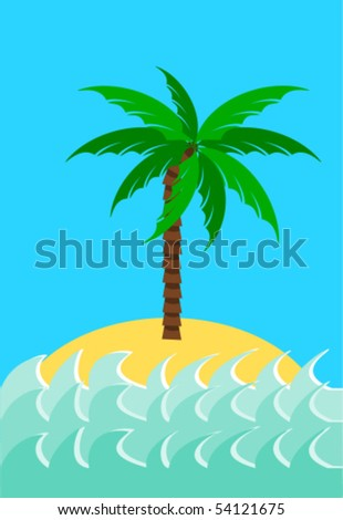 Desert island with palm tree vector illustration