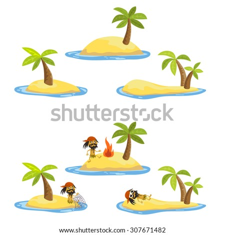 Desert island with palms and true nature inside ocean or sea in vector