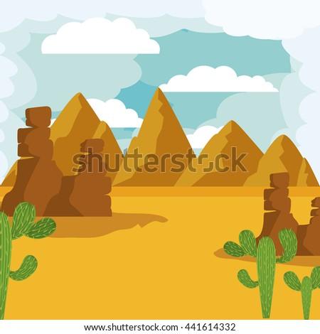 desert landscape design  - stock vector