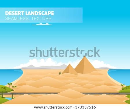 Desert landscape. Vector illustration - stock vector