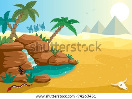 Desert Oasis: Cartoon illustration of small oasis in the Sahara desert. A4 proportions. No transparency used. Basic (linear) gradients. - stock vector