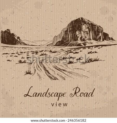 Desert Road. Hand drawn Vector Illustration - stock vector