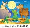 Desert scene with various animals 3 - vector illustration. - stock