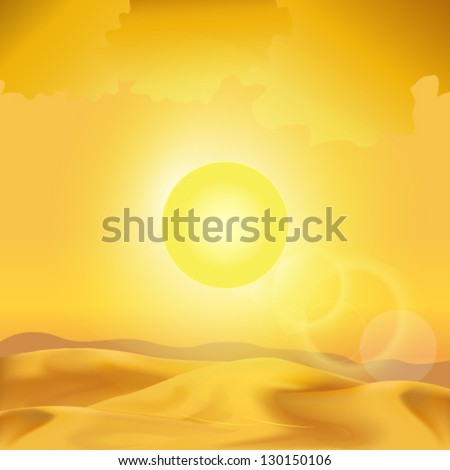 desert sunset - stock vector
