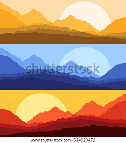 Desert sunset and sunrise landscape vector background