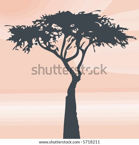 Desert Tree Background - Please see some other tree illustrations from my portfolio - stock vector