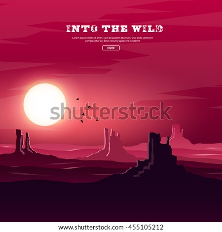 Desert trip. Extreme tourism and travelling. Back to nature. Sands.Exploring Africa. Horizont line with sky,stars.Camels. - stock vector