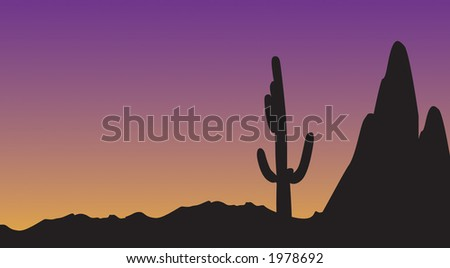 Desert vector during dusk.  Night is about to hit with the tall cactus  and mountains in the background. - stock vector