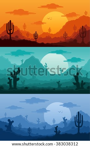 Desert wild nature landscapes with cactus, desert herbs, clouds and mountains in various times of day vector illustration - stock vector