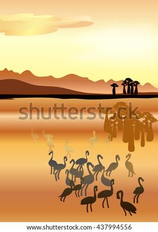 Desert with cactus plants, flamingo vector illustration. desert landscape, desert sand, desert sand, cactus, desert cactus. desert dune. sahara desert. desert vector. desert eps. desert sand. desert. - stock vector