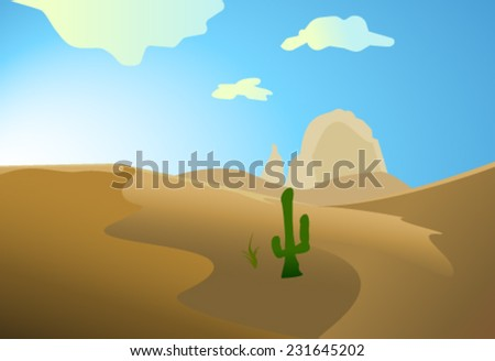 desert with dunes cactus and mountains  - stock vector
